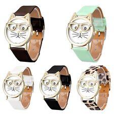 Fashion Women Casual Cute Cat Quartz Faux Leather Band Casual Wrist Watch Analog