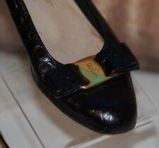 d29ca01ccda Salvatore Ferragamo Sz 7 AA Black Gold Tone Logo Bow Flats Pumps Animal  Leather