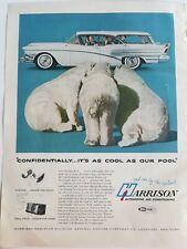 1958 Harrison automotive air conditioning White Station Wagon car polar bears ad