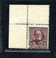 [KN3]  US #225 ~1890 8c Lilac Perf 12 Sherman [UL Corner Position] ~ Mint-OG