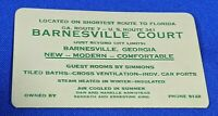 Antique Rare Trade Business Card Barnesville Court Georgia Florida Motel Deco