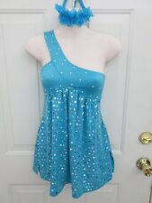 Teal Blue Silver Dress Dance Costume Large Child LC 12 14