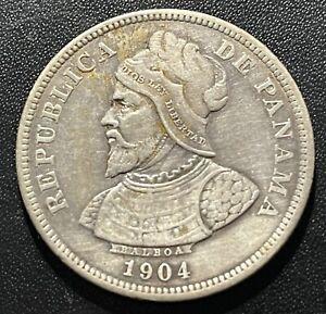 Panama 1904 25 Centesimos Silver Coin
