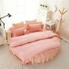 Home Bedding Round Bedskirt Duvet Cover Pillowcase Set Princess Cotton Ruffles
