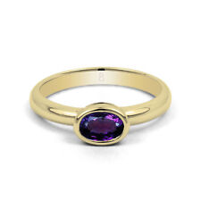 Solitaire Amethyst Yellow Gold Oval Fine Gemstone Rings