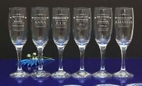 Personalised Engraved Flutes Glass Wedding Favour Gift Bridesmaid 2,3,4,5