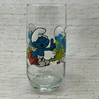 Hardee's Brainy Smurf Drinking Glass 1982 Peyo Wallace Berrie & Co 6""