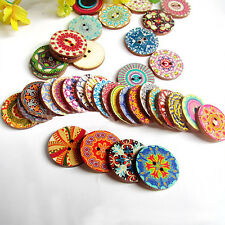 NT 50Pcs Wholesale Mix Big Wood Buttons Decorative Vintage Patchwork DIY 2.5cm