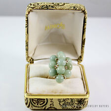 MING'S HAWAII GREEN JADE BALL CLUSTER 14K YELLOW GOLD RING W/ BOX (SZ 5.75-6)