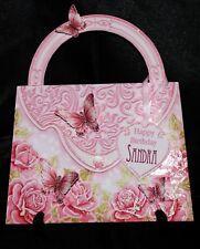 HB04 - Handmade Personalised Handbag Shape Age/Female Pink Floral Birthday Card