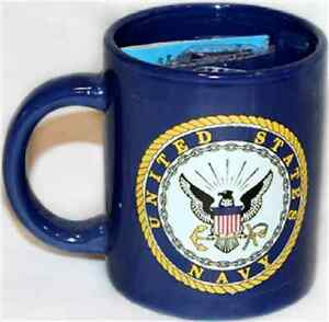 12oz Blue U.S. Navy Emblem Seal Crest Ceramic Mug with 12x18 Navy Flag