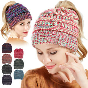 Causal Women Knitted Multicolored Ponytail Beanie Skull Cap Winter Stretch Hats