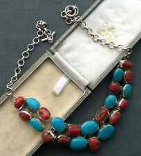 """VINTAGE NECKLACE 18"""" SOLID 925 STERLING SILVER  TURQUOISE CORAL"""