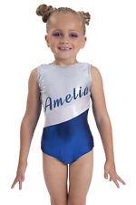 Personalised Name Gymnastics Leotard for Girls Shiny Kids Sparkle Dancewear