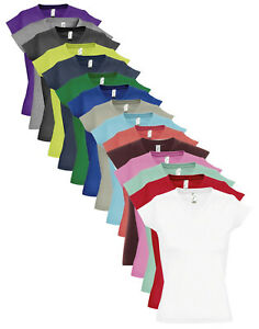 Ladies Womens Plain Cotton Short Sleeve Vee Neck V-Neck Tee TShirt T-Shirt Top