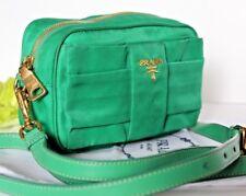 $678~Prada Bow Crossbody Clutch Fiocco Nylon BP0166 Acquamarina Tessuto green