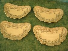 """VINTAGE JOHNSON BROS """"LOTHAIR"""" 4 SM OVAL SIDE DISHES/BOWLS~BLUE W/GOLD~ENGLAND"""