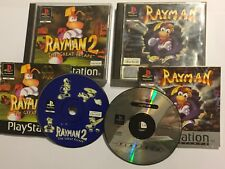 2 ORIGINAL PS1 PLAYSTATION 1 PSone GAMES RAYMAN 1 / I  +2 / II BOTH COMPLETE PAL