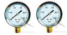 "2 Air Compressor Pressure/Hydraulic Gauge 2"" Face Side Mount 1/4"" NPT 0-100 PSI"