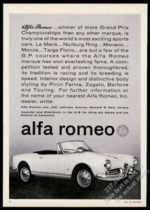 1962 Alfa Romeo convertible car photo vintage print ad