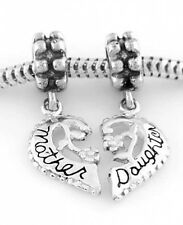 SILVER MOTHER DAUGHTER SPLIT HEART EUROPEAN BEAD