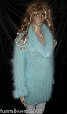 handgestrickt  Pullover langhaar  Mohair exclusiv L / XL hellblau  hand knitted