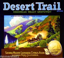 Sierra Madre Lamanda Desert Trail Grapefruit Citrus Fruit Crate Label Art Print