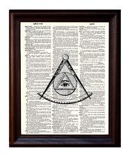 Illuminati Mason - Dictionary Art Print Printed On Authentic Vintage Dictionary