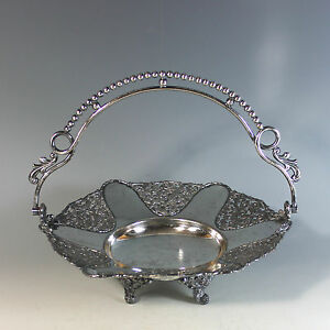Antique Aesthetic Movement Silver plate Bride's Basket with Handle