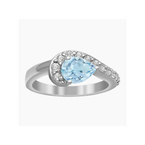 Pear 6X4 MM Aquamarine 925 Sterling Silver Women Cluster Ring