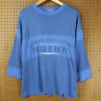 vtg 90s BUGLE BOY shirt sz LARGE - XL stripes vaporwave surfer 3/4 sleeve boxy