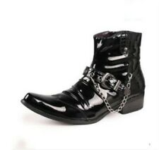 Mens High Top Patent Leather Buckle Leather Punk Pointed Toe Ankle Boots Black