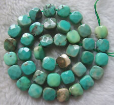 """10mm Natural Green Moss Agate Faceted Square Loose Beads 15.5"""""""