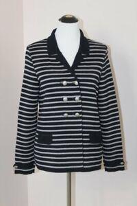 SAINT JAMES Sz 10 M US Navy Gray Stripe Double Breasted Cardigan Sweater Wool
