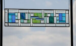 """•X-Long• Beveled Stained Glass Window Panel-Sidelight /Transom-38.5x10.5"""""""