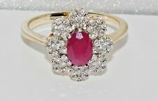 9ct Gold Ruby & 0.60ct Diamond Large Cocktail / Cluster Ring size P
