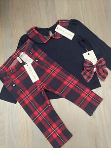 NWT Janie And Jack Girl WINTER HOLIDAY 3-piece red navy plaid bow SET 12 18 24