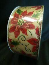 "Designer Quality Ribbon 2 1/2"" W x 50 Yds. With Poinsettia Design"