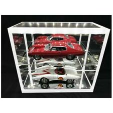 WHITE Double LED Showcase For x2 1:18 Scale Cars Display Case H37 x W36 x D17cm