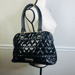 Betsey Johnson Black Patent Quilted Satchel Hearts tote purse rockabilly
