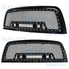 Black SS Mesh Grille+Black Shell+ w/LED Lights for 10-17 Dodge RAM 2500/3500