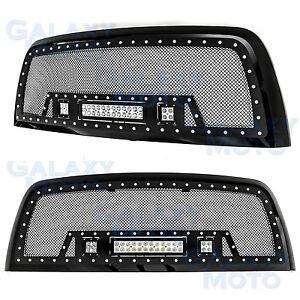 Black SS Mesh Grille+Black Shell+ w/LED Lights for 10-17 Dodge RAM 2500/3500
