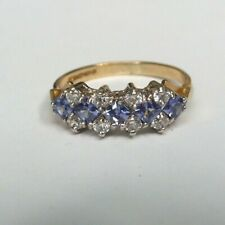 Vintage 9ct yellow gold Tanzanite and Cubic Zirconia ring. Size J.