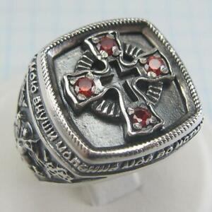 925 Sterling Silver Signet Ring Size 9.5 Cross Prayer Text Saint George Huge 088