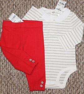 New! Baby Girls OshKosh B'gosh Outfit (Shirt, Pants; White/Red) - Size 3-6 mo