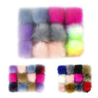 12pcs DIY Faux Fox Fur Pom With Press Button Removable Knitting Hat Accessories