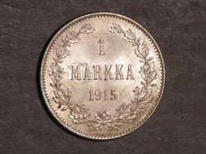 FINLAND 1915 1 Markka Silver BU