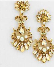 "2.75"" Gold Long Light Brown Champagne Crystal Rhinestone Earrings Chandelier"