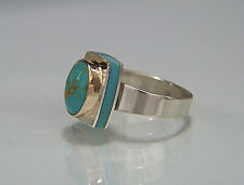 Persian Turquoise. Sleeping Beauty Turquoise.14K & Argentium Silver. Ring. 7-3/4