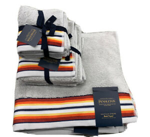Pendleton Saltillo Stripe Bath Hand Face Towel Set Grey 6 Pc. Set 100% Cotton